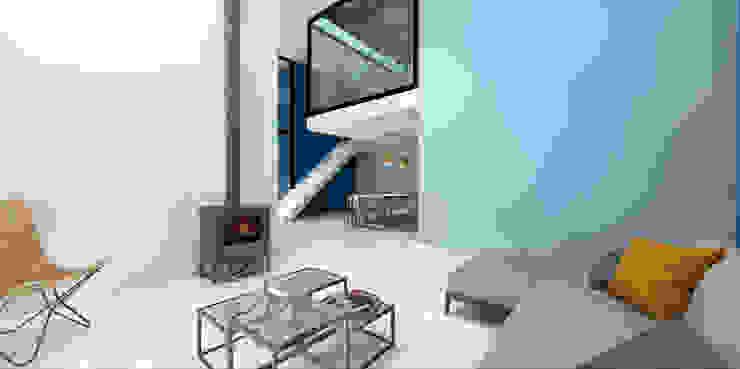 Dinges Design 现代客厅設計點子、靈感 & 圖片 Blue