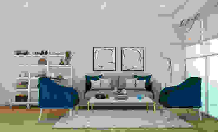 Propuesta de sala Salas modernas de NF Diseño de Interiores Moderno