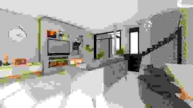 Casa MPME Salones minimalistas de Luis Barberis Arquitectos Minimalista