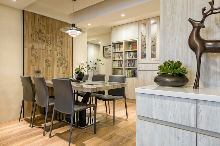 自然質樸-翊盛新天地 富亞室內裝修設計工程有限公司 餐廳 磁磚 Wood effect