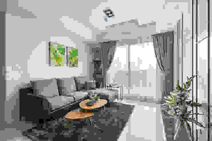 宇成建築/植村NY-都會簡約 现代客厅設計點子、靈感 & 圖片 根據 SING萬寶隆空間設計 現代風