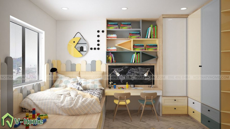 Thiết kế nội thất chung cư N02 – 259 Yên Hòa phong cách Scandinavian: hiện đại  by Công ty CP tư vấn thiết kế và xây dựng V-Home, Hiện đại