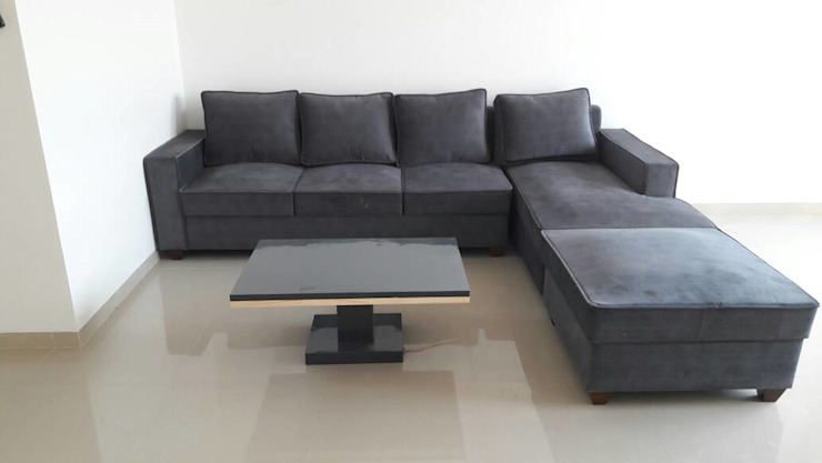 GREY SOFA IN LIVING :  Living room by decormyplace,Asian Plywood