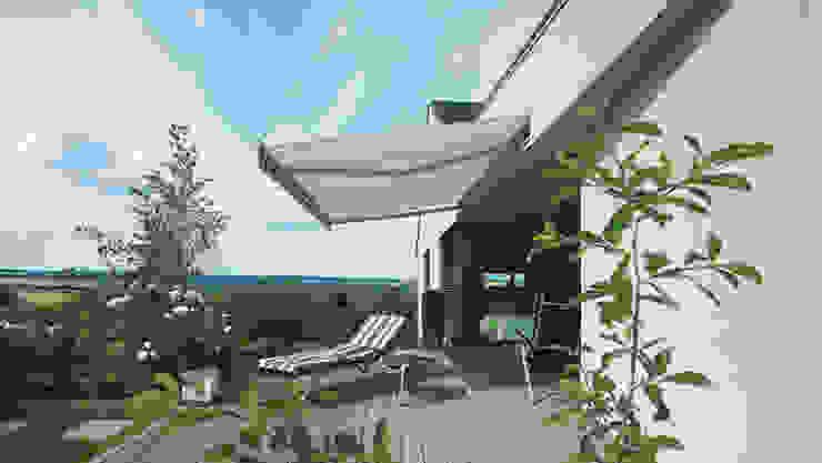 In die Fassade integrierte Markise Moderner Balkon, Veranda & Terrasse von Markisen Zanker im Raum Stuttgart Modern Aluminium/Zink