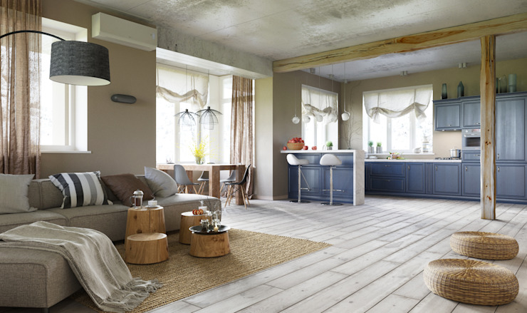 Irina Yakushina Ruang Keluarga Gaya Skandinavia Beige