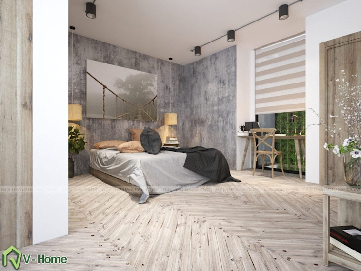 Thiết kế nội thất chung cư Iris Garden Mỹ Đình – C. Ngọc: công nghiệp  by Công ty CP tư vấn thiết kế và xây dựng V-Home, Công nghiệp