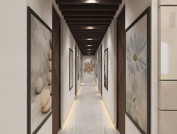 Modern hallway in a spa with huge paintings راهرو مدرن، راهرو و راه پله توسط Rhythm And Emphasis Design Studio مدرن
