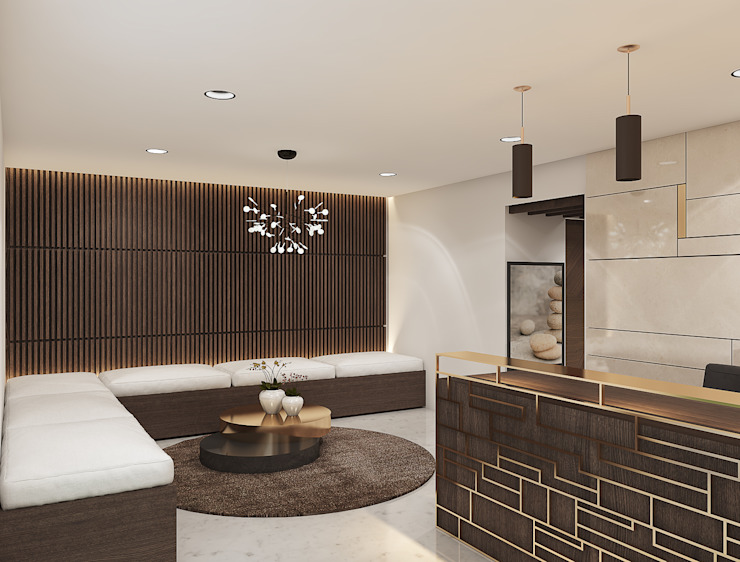 Reception and waiting area in a spa interiors توسط Rhythm And Emphasis Design Studio مدرن