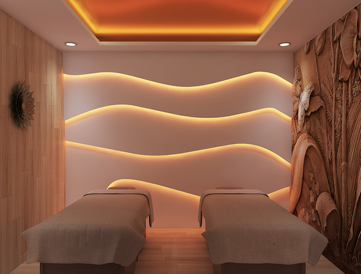 Spa room with beds توسط Rhythm And Emphasis Design Studio مدرن