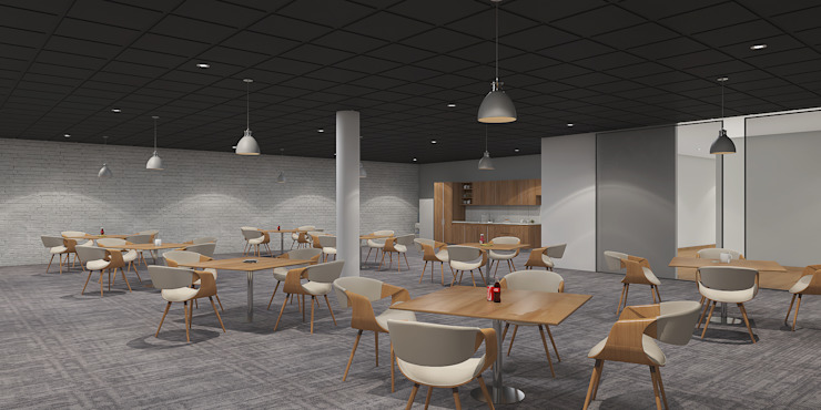 Cafeteria interiors راهرو مدرن، راهرو و راه پله توسط Rhythm And Emphasis Design Studio مدرن