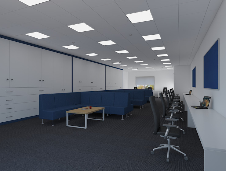 Saff office room with a breakout design توسط Rhythm And Emphasis Design Studio مدرن