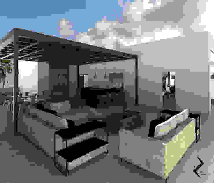 TERRAZA Y AREA DE ASADOR Balcones y terrazas de estilo moderno de RJ Arquitectos Moderno