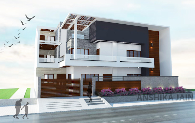 Residence Elevation by Inaraa Designs Modern