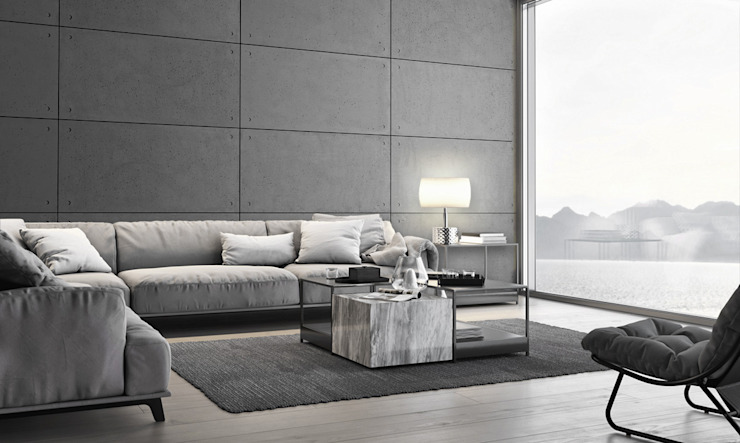 Modern living room by Loft Design System Deutschland - Wandpaneele aus Bayern Modern Concrete