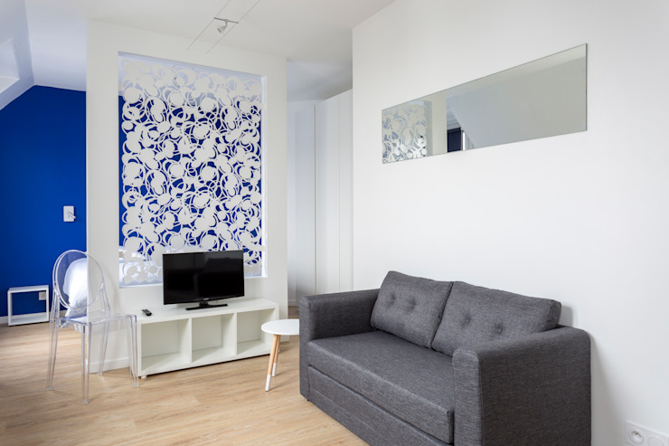 Salas de estar minimalistas por Fables de murs Minimalista Madeira Efeito de madeira