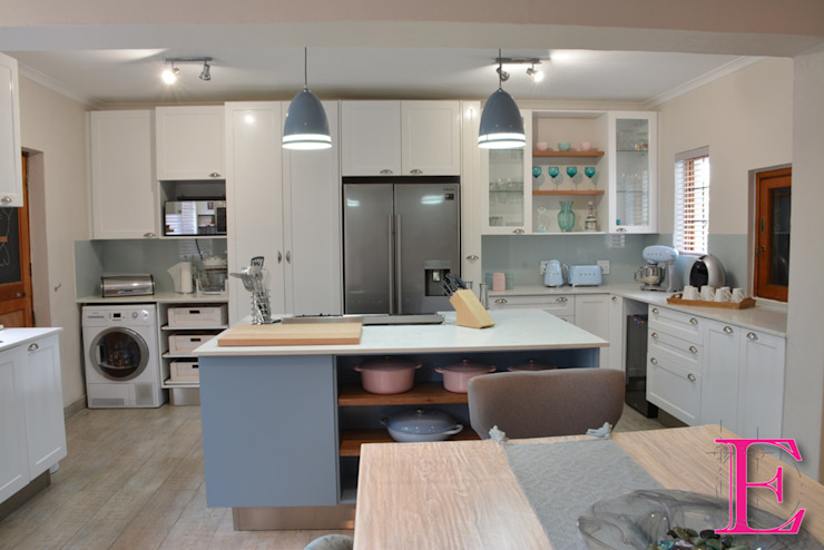Fresh Modern Country Powder Blue & White Kitchen by Ergo Designer Kitchens and Cabinetry Country MDF