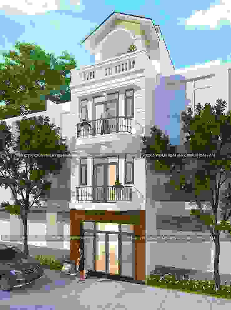 Mặt tiền nhà ống 4 tầng mái thái bởi Công ty cổ phần tư vấn kiến trúc xây dựng Nam Long