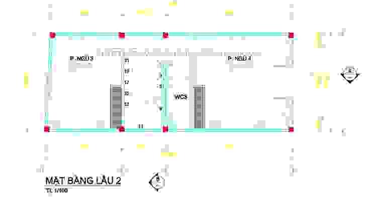 Mẫu nhà ống 4 tầng mái thái đẹp mộc mạc ở quận Thủ Đức bởi Công ty cổ phần tư vấn kiến trúc xây dựng Nam Long