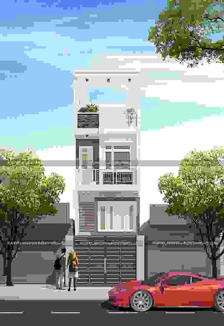Mặt tiền nhà 1 trệt 1 lửng 1 lầu 1 sân thượng bởi Công ty xây dựng nhà đẹp mới