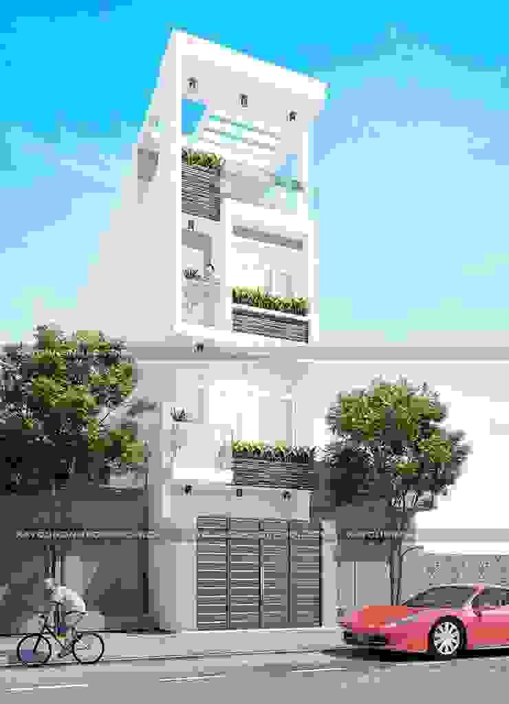 Mặt tiền mẫu thiết kế nhà 4x13 bởi Công ty xây dựng nhà đẹp mới