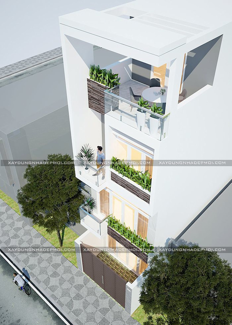 Mẫu thiết kế nhà 4x13 đẹp hiện đại, trẻ trung ở quận Gò Vấp bởi Công ty xây dựng nhà đẹp mới