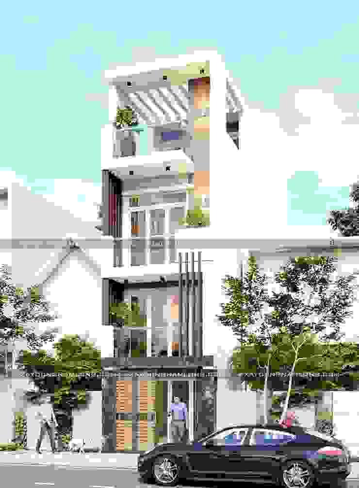 Mẫu nhà ống 4 tầng hiện đại trẻ trung bởi Thiết kế nhà đẹp ở Hồ Chí Minh
