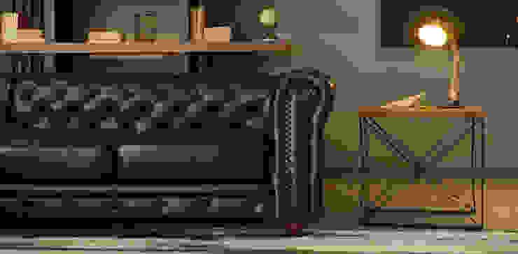 Sala Chesterfield Azul: Salas de estilo  por Casa de las Lomas,