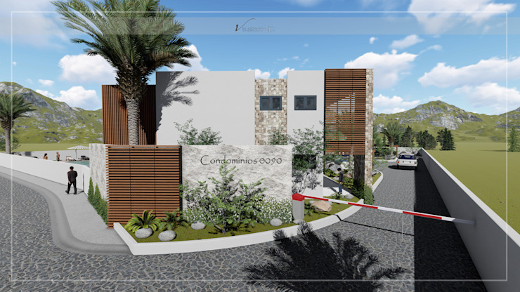 Visualización 3D Terrace house Concrete Wood effect