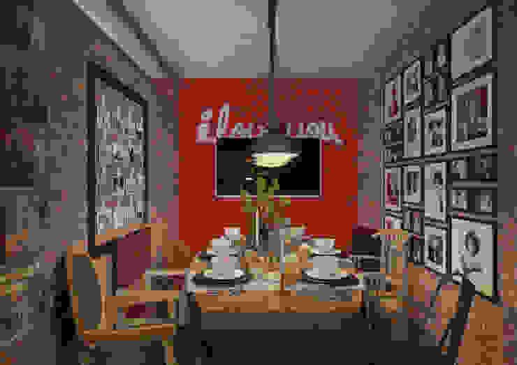 Irina Yakushina Ruang Makan Gaya Industrial Batu Bata Red