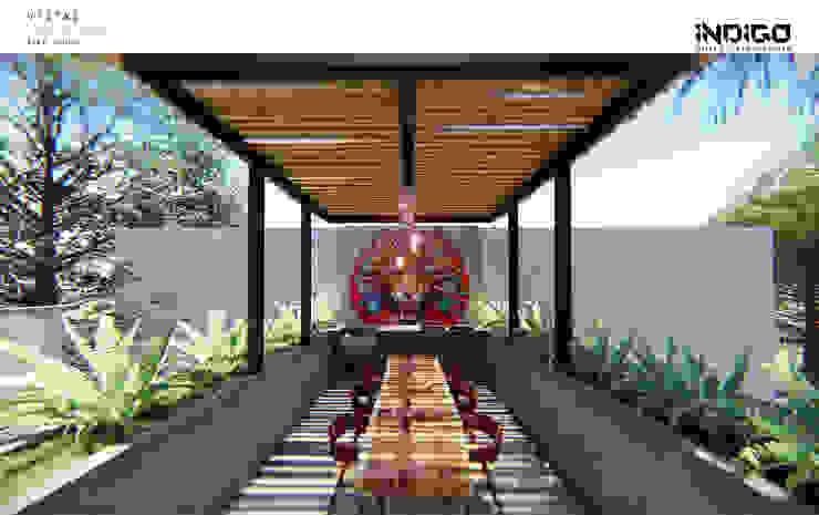 트로피컬 발코니, 베란다 & 테라스 by Indigo Diseño y Arquitectura 휴양지 철근 콘크리트