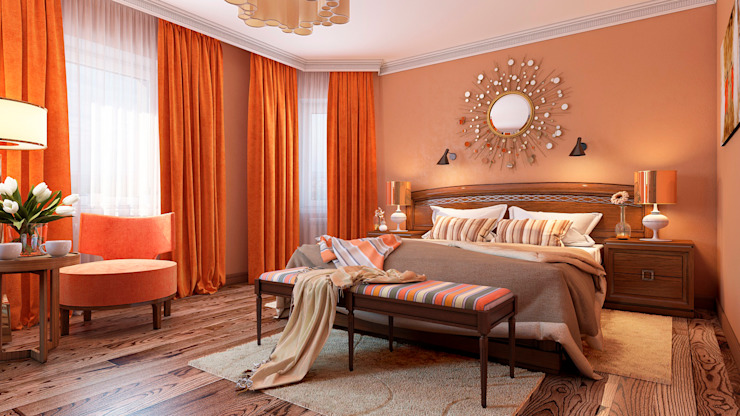 Irina Yakushina Kamar Tidur Gaya Kolonial Orange