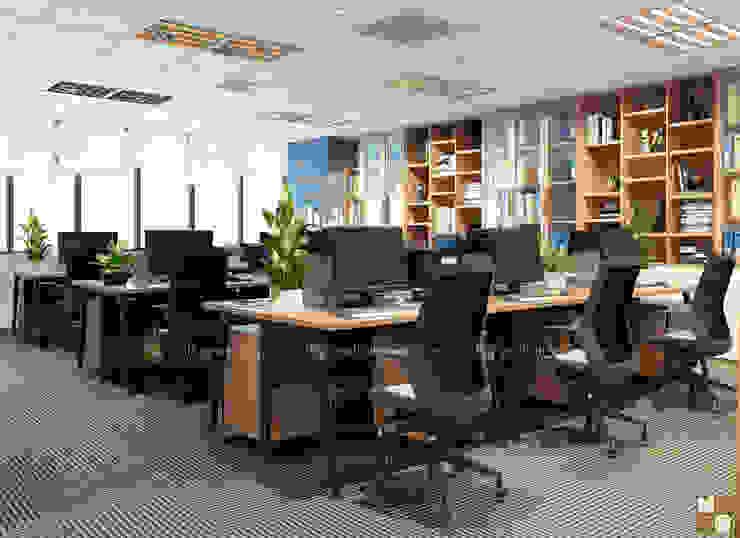 Khu làm việc ban kinh tế - View1 bởi Công ty CP nội thất Miền Bắc Hiện đại