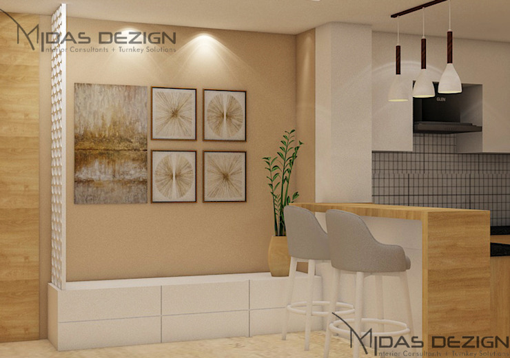 Entrance with open kitchen with bar stools Modern corridor, hallway & stairs by Midas Dezign Modern
