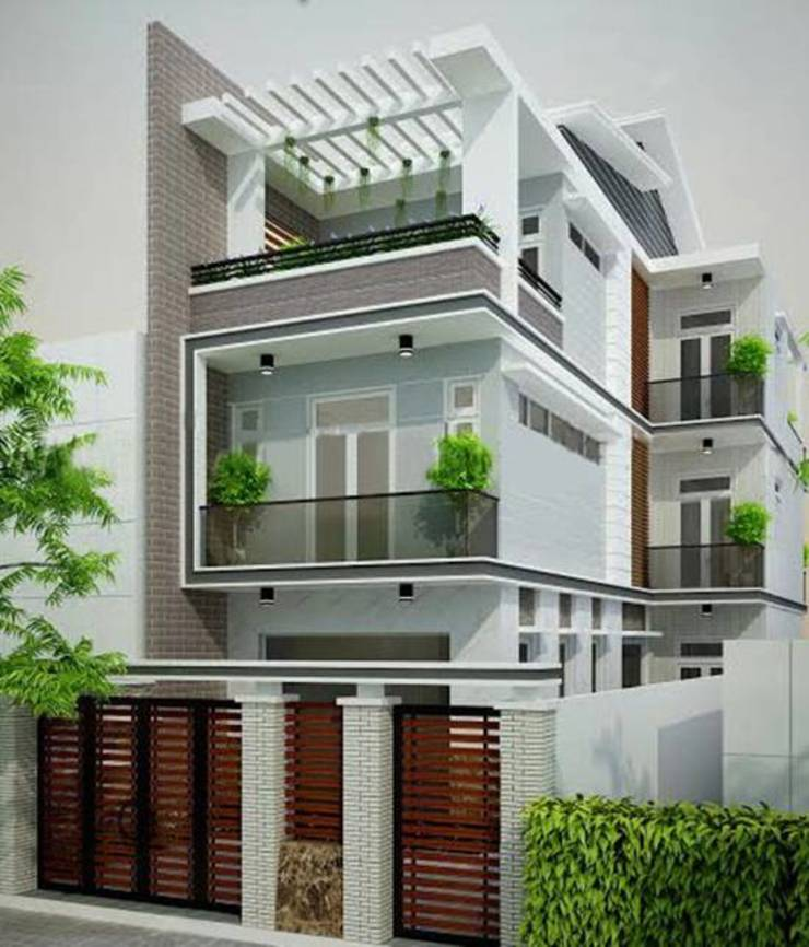 Mặt tiền mẫu nhà ngang 6m dài 17m bởi Công ty cổ phần tư vấn kiến trúc xây dựng Nam Long