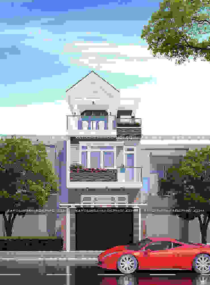 Mặt tiền mẫu nhà 3 tầng đẹp 5x18m bởi Công ty xây dựng nhà đẹp mới