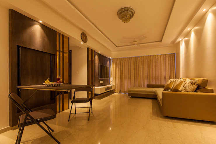 1 BHK residence. Minimalist living room by Sagar Shah Architects Minimalist