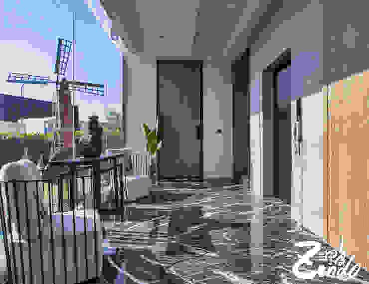 層峰 現代風玄關、走廊與階梯 根據 Zendo 深度空間設計 現代風
