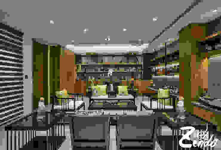 層峰 现代客厅設計點子、靈感 & 圖片 根據 Zendo 深度空間設計 現代風