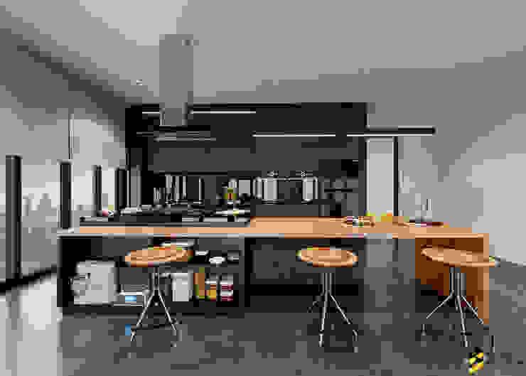 ผลงานการออกแบบห้องครัว ห้องทำเบเกอรี่: ผสมผสาน  โดย Bcon Interior , ผสมผสาน ไม้จริง Multicolored