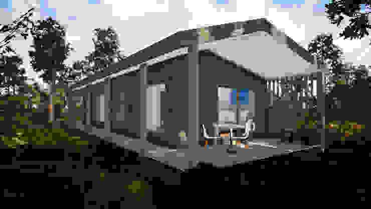 Fachada Casa Corredor de L2 Arquitectura Moderno Madera Acabado en madera