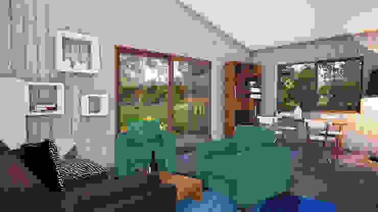 Interior Living-Comedor Casa Corredor de L2 Arquitectura Moderno Madera Acabado en madera