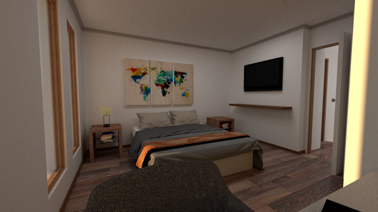 Imágen Objetivo Dormitorio, Ampliación Casa La Reina, Santiago de Latitud Sur Moderno