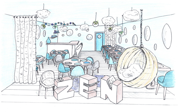 Croquis 3D vitrine restaurant ABCD MAISON