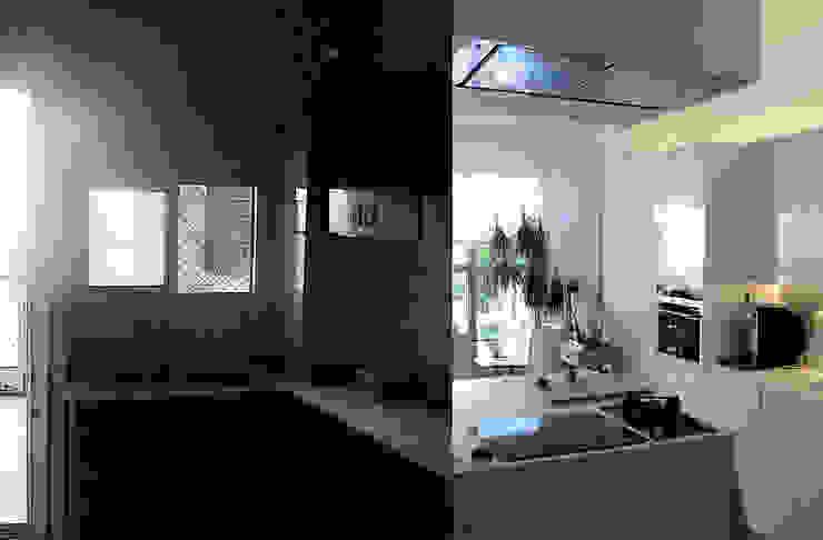 Imágenes del antes y después de cocina comedor. Estudio1403, COOP.V. Arquitectos en Valencia