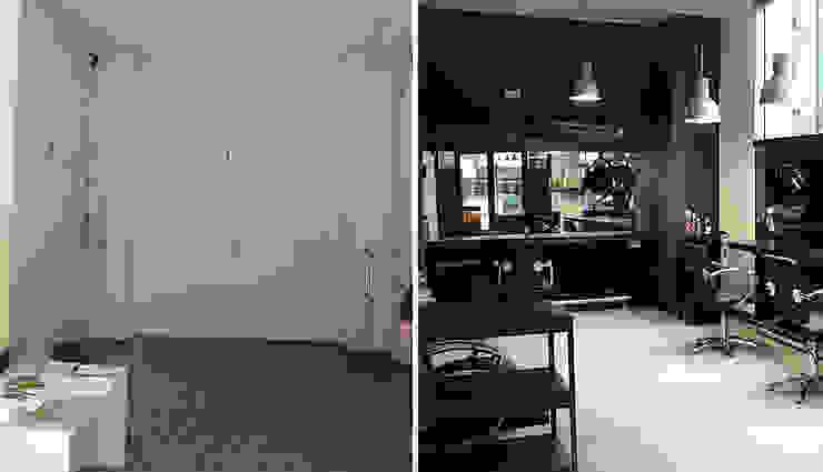 Antes y después del local. de Estudio1403, COOP.V. Arquitectos en Valencia Moderno