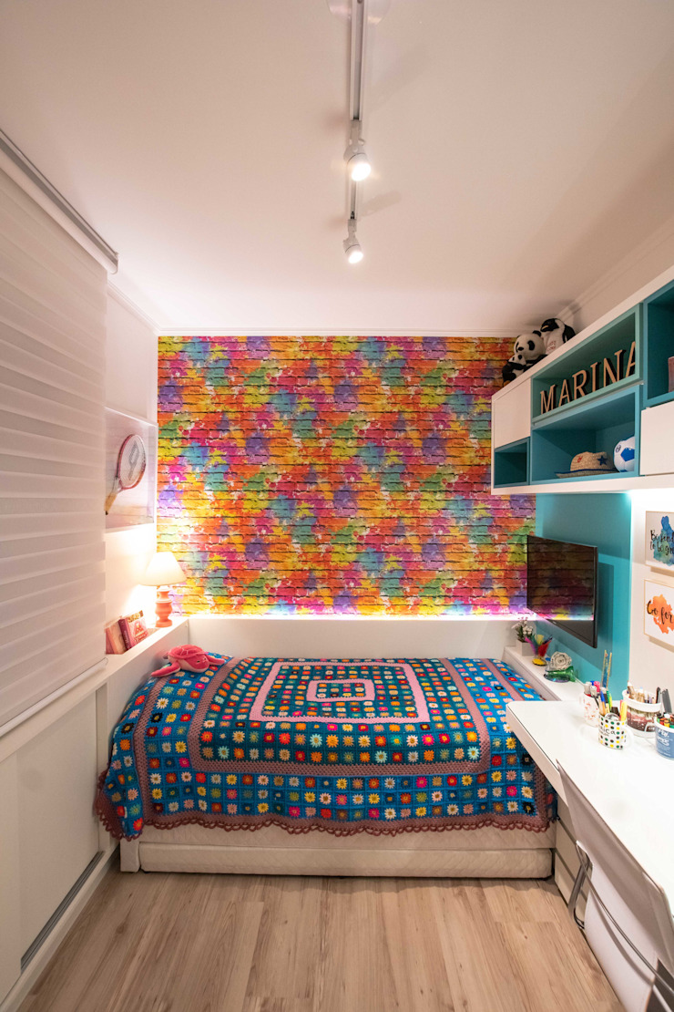 Bloco Z Arquitetura Modern style bedroom MDF Multicolored