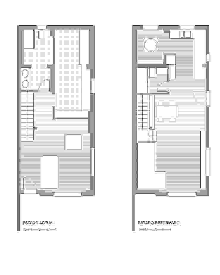 Plano del estado previo y reformado Estudio1403, COOP.V. Arquitectos en Valencia