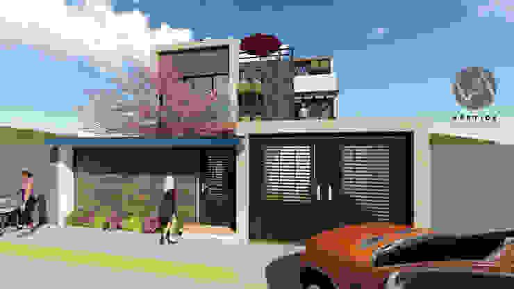 Fachada Casa Habitación de Vértice Arquitectos Minimalista Concreto