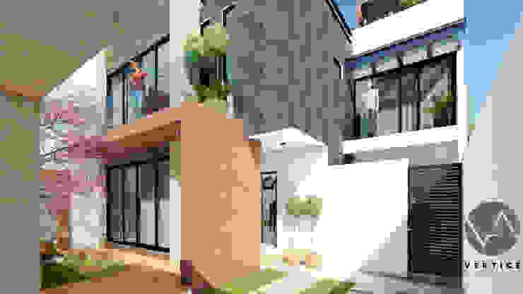 Fachada Interior Pasillos, vestíbulos y escaleras minimalistas de Vértice Arquitectos Minimalista Concreto