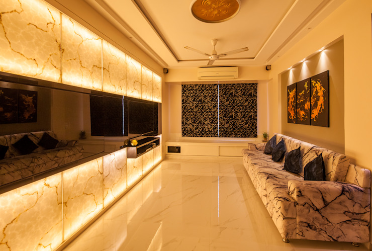 The livin room:  Living room by Sagar Shah Architects,